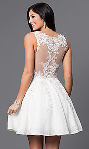 Image of JVN by Jovani short lace homecoming party dress. Style: JO-JVN-JVN45264 Back Image