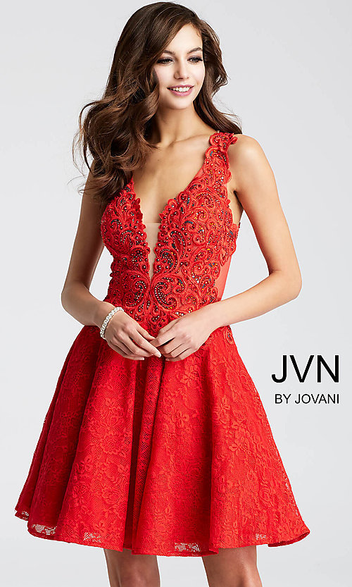 Image of JVN by Jovani short lace homecoming party dress. Style: JO-JVN-JVN45264 Detail Image 2