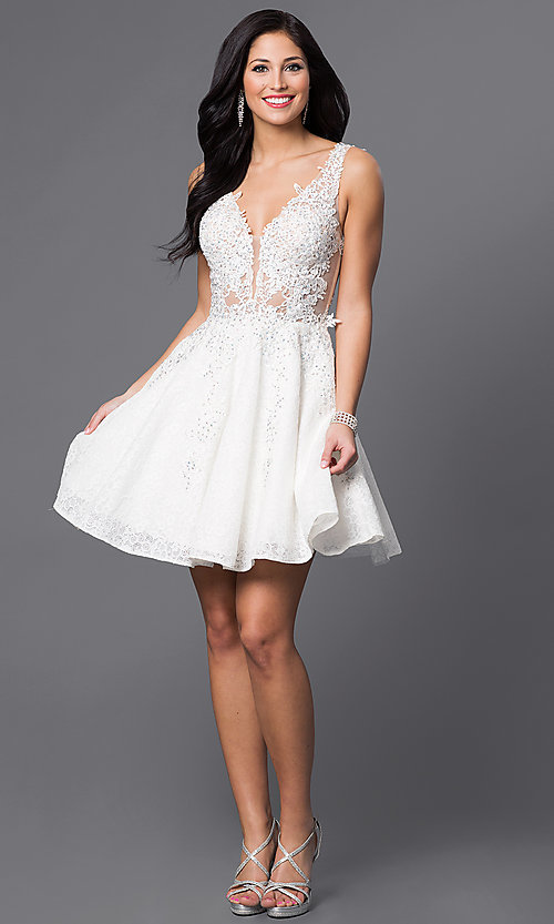 Image of JVN by Jovani short lace homecoming party dress. Style: JO-JVN-JVN45264 Detail Image 1