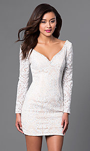 Image of long-sleeve lace homecoming dress with wide v-neck. Style: JO-JVN-JVN41692 Front Image