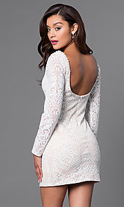 Image of long-sleeve lace homecoming dress with wide v-neck. Style: JO-JVN-JVN41692 Back Image