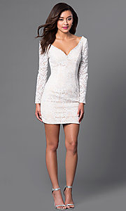 Image of long-sleeve lace homecoming dress with wide v-neck. Style: JO-JVN-JVN41692 Detail Image 1