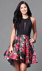 Sleeveless High Low Dress with Print Skirt