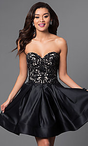 Corset Back Strapless Lace Bodice Dress