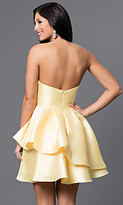 Image of strapless fanned-bodice short layered dress. Style: JO-JVN-JVN45677 Back Image