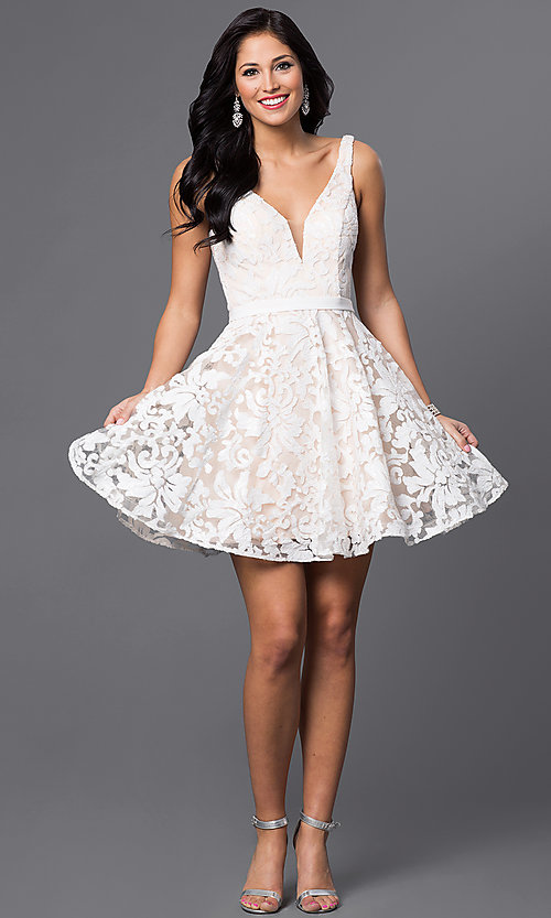 Image of short deep v-neck floral-sequined designer dress.  Style: JO-JVN-JVN47506 Detail Image 1