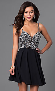 Image of short illusion jeweled-bodice homecoming dress. Style: JO-JVN-JVN47310 Detail Image 2