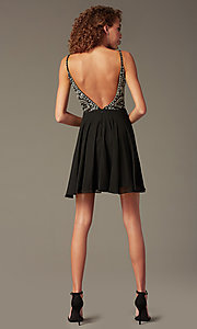 Image of short illusion jeweled-bodice homecoming dress. Style: JO-JVN-JVN47310 Detail Image 3