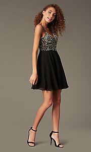 Image of short illusion jeweled-bodice homecoming dress. Style: JO-JVN-JVN47310 Detail Image 4