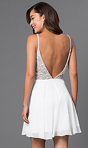 Image of short illusion jeweled-bodice homecoming dress. Style: JO-JVN-JVN47310 Back Image