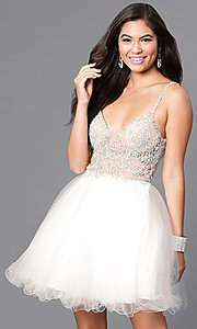 Jewel Embellished Open Back Short Dress