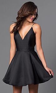 Image of v-neck short a-line homecoming party dress. Style: JO-JVN-JVN47315 Detail Image 2