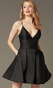 Image of v-neck short a-line homecoming party dress. Style: JO-JVN-JVN47315 Front Image