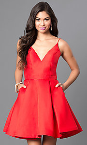 Image of v-neck short a-line homecoming party dress. Style: JO-JVN-JVN47315 Detail Image 7