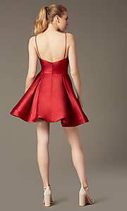Image of v-neck short a-line homecoming party dress. Style: JO-JVN-JVN47315 Detail Image 3
