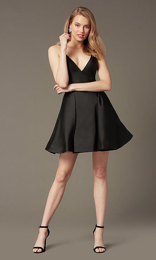 Image of v-neck short a-line homecoming party dress. Style: JO-JVN-JVN47315 Detail Image 1