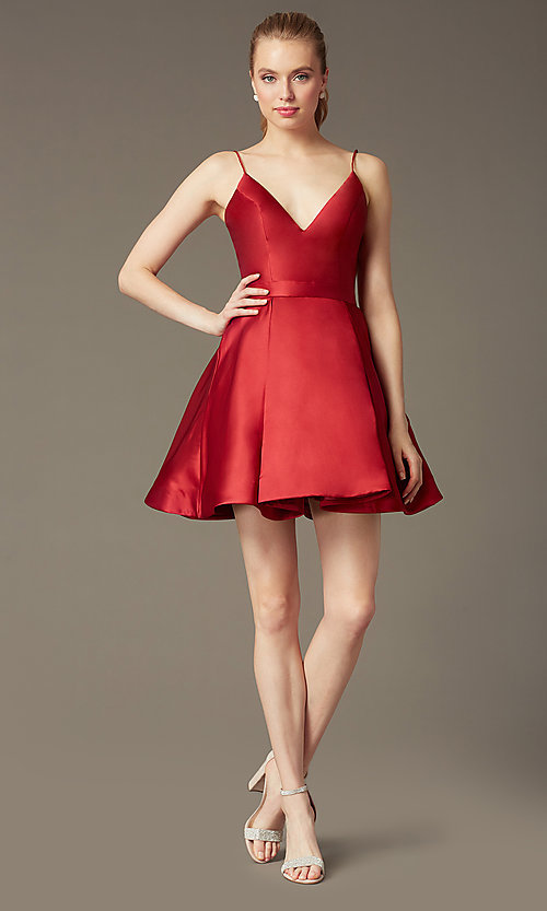 Image of v-neck short a-line homecoming party dress. Style: JO-JVN-JVN47315 Detail Image 4