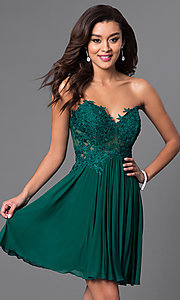 Short Strapless Dress with Lace Bodice