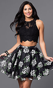 Two Piece Lace Bodice with Floral Print Skirt
