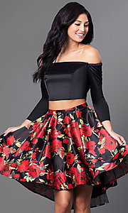 Off the Shoulder Two Piece Long Sleeve Dress