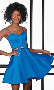 Image of short sweetheart Mori Lee homecoming party dress. Style: ML-9406 Detail Image 1