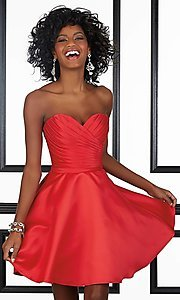 Short Strapless Ruched Mori Lee Homecoming Dress