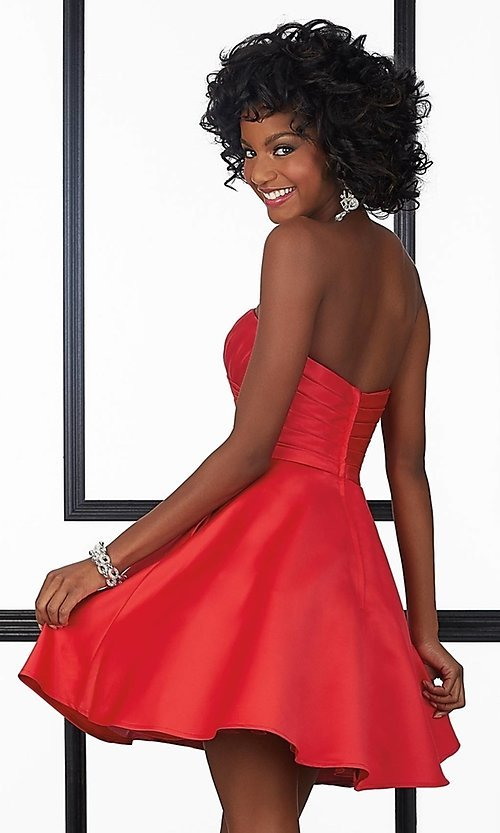 Image of short strapless ruched Mori Lee homecoming dress. Style: ML-9424 Back Image