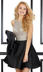 Image of short beaded-bodice homecoming dress by Mori Lee. Style: ML-9430 Front Image