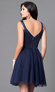 Image of short navy blue party dress with sequined v-neck. Style: ML-152 Back Image