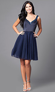 Image of short navy blue party dress with sequined v-neck. Style: ML-152 Detail Image 1