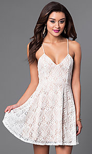 Image of lace spaghetti strap short dress with back tie Style: CL-44060 Detail Image 1