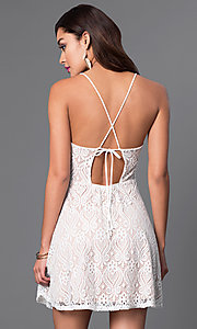 Image of lace spaghetti strap short dress with back tie Style: CL-44060 Back Image