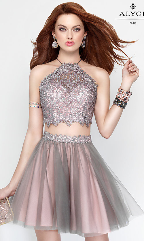 Image of high-neck two-piece open-back party dress by Alyce. Style: AL-3685 Front Image