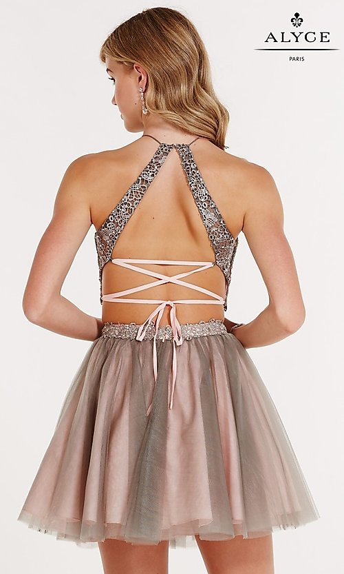 Image of high-neck two-piece open-back party dress by Alyce. Style: AL-3685 Back Image