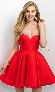 Fit and Flare Strapless Dress by Blush
