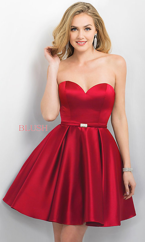 Image of strapless satin Blush a-line party dress. Style: BL-11173 Front Image