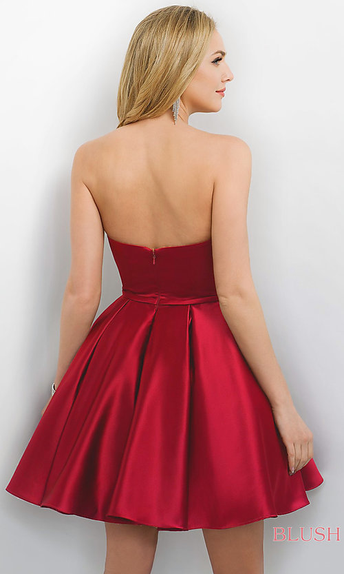 Image of strapless satin Blush a-line party dress. Style: BL-11173 Back Image