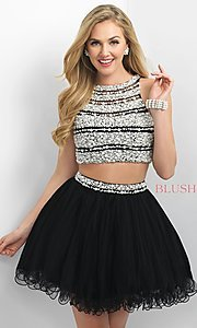 Image of two-piece beaded short Blush party dress. Style: BL-11176 Front Image