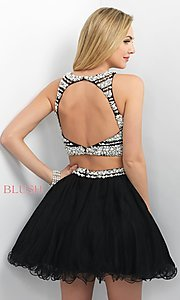 Image of two-piece beaded short Blush party dress. Style: BL-11176 Back Image