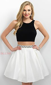 Two Piece Blush Homecoming Dress