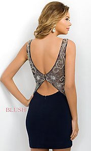 Image of navy blue party dress from Intrigue by Blush. Style: BL-IN-204 Back Image