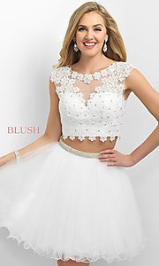 Two Piece Intrigue by Blush Short Homecoming Dress