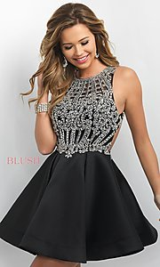 Image of open-back high-neck fit-and-flare homecoming dress. Style: BL-IN-220 Front Image