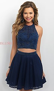 Navy Two-Piece Homecoming Dress from Intrigue by Blush