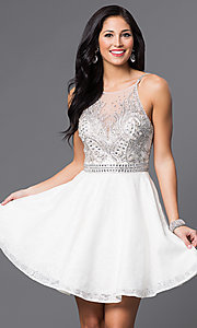 Jewel Embellished Illusion Sweetheart Dress