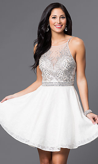 Jewel-Embellished JVN by Jovani Homecoming Dress
