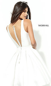 Image of Sherri Hill a-line illusion v-neck homecoming dress. Style: SH-S50506 Back Image