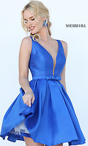 Sherri Hill A-Line Illusion V-Neck Homecoming Dress