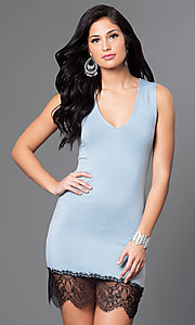 Image of v-neck fitted short dress with Lace Hem Style: CCC-6B7334 Detail Image 2