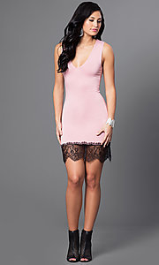 Image of v-neck fitted short dress with Lace Hem Style: CCC-6B7334 Detail Image 1